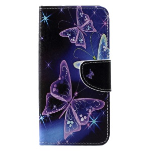 Cross Texture Pattern Printing Leather Wallet Cellphone Cover for Huawei P30 Pro - Pretty Butterflies