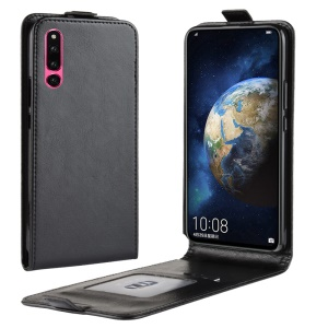 Crazy Horse Vertical Flip Leather Case with Card Holder for Huawei Honor Magic 2 - Black