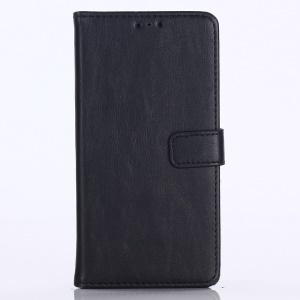 Crazy Horse Vintage Leather Wallet Stand Case for Huawei P30 - Black