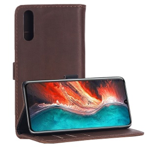 Crazy Horse Vintage Leather Flip Case Accessory for Huawei P30 - Coffee