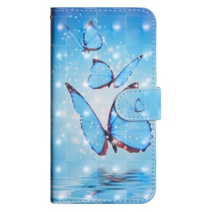 Pattern Printing Light Spot Decor Leather Wallet Flip Case for Huawei Honor 10 Lite / P Smart (2019) - Blue Butterfly