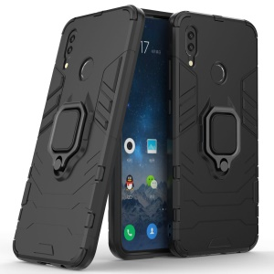Cool Guard Ring Holder Kickstand PC TPU Hybrid Case for Huawei P Smart (2019) - Black