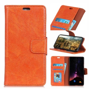Textured Split Leather Wallet Case Shell for Huawei P30 Lite - Orange