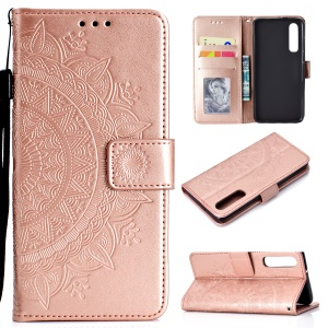 For Huawei P30 Mobile Case Mandala Flower Wallet PU Leather Case - Rose Gold