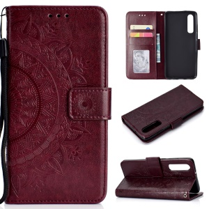 For Huawei P30 Casing Case Mandala Flower Wallet PU Leather Case - Wine Red