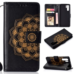 Imprinted Mandala Pattern Leather Wallet Case with Strap for Huawei P30 Pro - Black