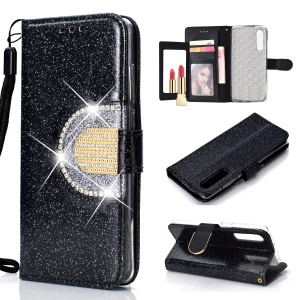For Huawei P30 Glitter Powder Leather Case [Rhinestone Decor] [with Mirror] - Black
