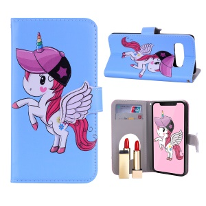 Unicorn Pattern PU Leather Case [Mirror / Wallet / Stand] for Samsung Galaxy S10 - Blue