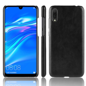 Litchi Texture PU Leather Coated PC Phone Case for Huawei Enjoy 9 / Y7 Pro (2019) - Black