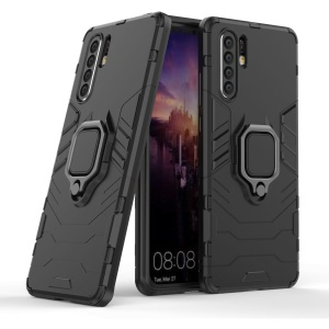 Finger Ring Kickstand PC + TPU Hybrid Phone Case for Huawei P30 Pro - Black
