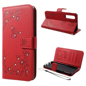 For Huawei P30 Imprint Butterfly Flower [Rhinestone Decor] Leather Wallet Case - Red