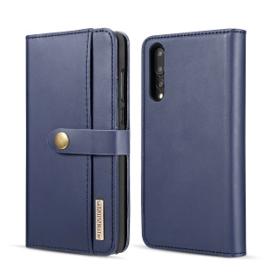 DG.MING Split Leather Wallet Cover + Detachable PC Phone Shell for Huawei P20 Pro - Blue