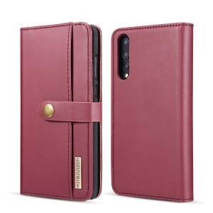 DG.MING Split Leather Wallet Cover + Detachable PC Mobile Case for Huawei P20 Pro - Red
