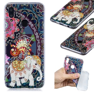 Pattern Printing TPU Cell Phone Case for Huawei Honor 10 Lite / P Smart (2019) - Flower and Elephant