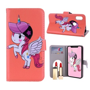 Unicorn Pattern PU Leather Casing [Mirror / Wallet / Stand] for Huawei Honor 10 Lite/P Smart (2019) - Orange