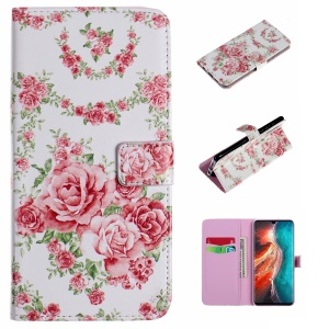 Embossment Patterned PU Leather Flip Cover for Huawei P30 - Vivid Flower