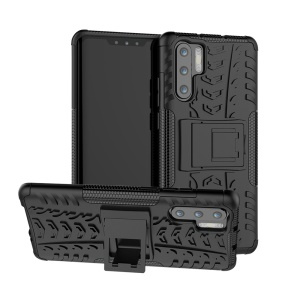 Anti-slip PC + TPU Hybrid Case with Kickstand for Huawei P30 Pro - Black