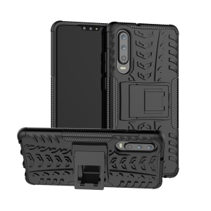 Anti-slip PC + TPU Hybrid Case with Kickstand for Huawei P30 - Black
