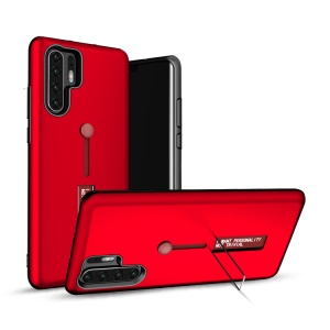TPU + PC Hybrid Finger Grip Kickstand Case for Huawei P30 Pro - Red