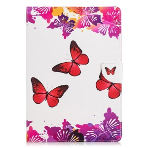 Pattern Printing PU Leather Tablet Cover with Card Slots for Huawei MediaPad T3 10 - Red and Purple Butterflies