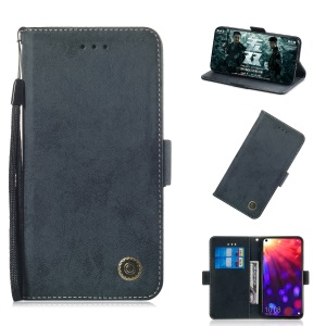 Retro Style PU Leather Stand Wallet Case for Huawei Honor V20 - Dark Blue