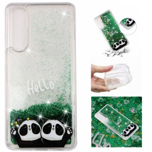 For Huawei P30 [Dynamic Glitter Powder Sequins] Patterned TPU Protective Case - Hello Panda
