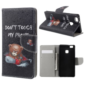 Patterned Leather Folio Cover for Huawei P9 Lite - Cool Bear
