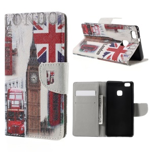 Patterned Leather Folio Shell for Huawei P9 Lite - Big Ben and UK Flag