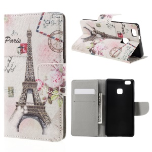 Pattern Printing Leather Flip Case for Huawei P9 Lite - Paris Eiffel Tower