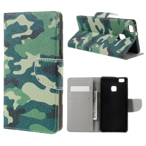 Pattern Printing Leather Flip Cover for Huawei P9 Lite - Camouflage Pattern