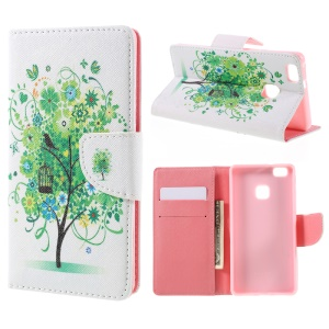 Patterned Leather Wallet Stand Case for Huawei P9 Lite - Green Tree