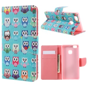 Patterned Leather Wallet Stand Shell for Huawei P9 Lite - Multiple Owls