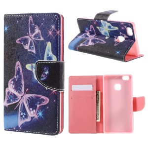 PU Leather Folio Cover for Huawei P9 Lite - Translucent Butterfly