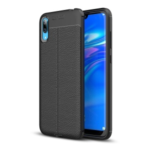 Litchi Texture Soft TPU Back Shell Casing for Huawei Enjoy 9 / Y7 Pro (2019) - Black