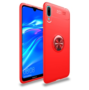 Finger Ring Kickstand TPU Cover (Built-in Magnetic Metal Sheet) for Huawei Enjoy 9 / Y7 Pro (2019) - Red