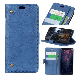Retro Style Leather Magnetic Stand Wallet Shell for Huawei P30 Lite - Blue