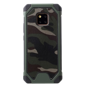 Camouflage Pattern Leather Coated PC TPU Hybrid Phone Cover for Huawei Mate 20 Pro - Green