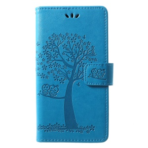 Imprint Tree Owl Pattern Card Holder Leather Mobile Cover for Huawei P30 Lite - Blue