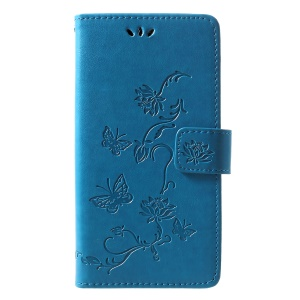 Imprint Butterfly Flower [Wallet Stand] Leather Mobile Cover for Huawei P30 Lite - Blue
