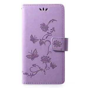 Imprint Butterfly Flower [Wallet Stand] Leather Mobile Casing Cover for Huawei P30 Lite - Light Purple