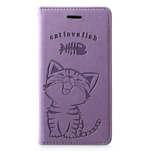 Imprint Cat and Fish Bone PU Leather Cellphone Cover [with Wallet Stand] for Huawei P30 Lite - Purple