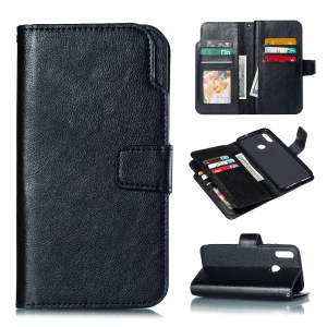 9 Card Slots Crazy Horse Leather Wallet Case for Huawei Honor 10 Lite - Black