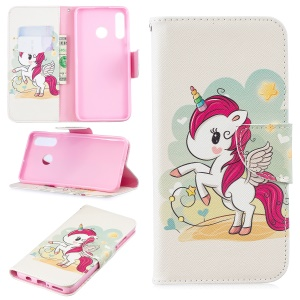 [Pattern Printing] Leather Wallet Cell Phone Case for Huawei P30 Lite - Unicorn