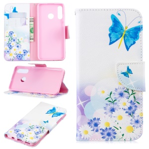 Pattern Printing Wallet Stand Leather Case for Huawei P30 Lite - Butterfly and Daisy