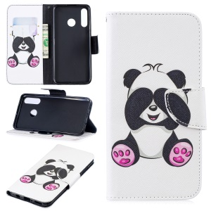 For Huawei P30 Lite Pattern Printing Leather Wallet Phone Shell - Cute Panda
