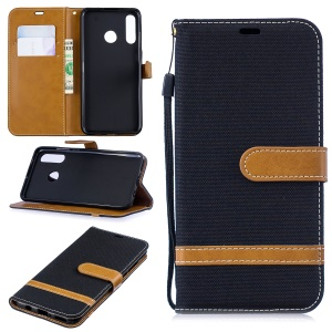 Assorted Color Jeans Cloth Wallet Leather Case for Huawei P30 Lite - Black