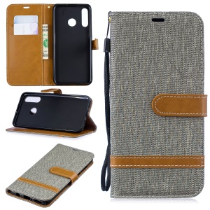 Assorted Color Jeans Cloth Wallet Leather Cover for Huawei P30 Lite/nova 4e/P30 Lite New Edition - Grey