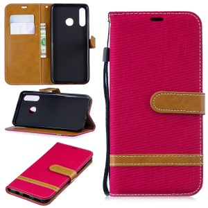 Assorted Color Jeans Cloth Stand Leather Shell for Huawei P30 Lite - Red