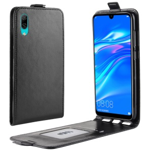 Crazy Horse Vertical Flip Leather Mobile Phone Casing with Card/Photo Slot for Huawei Enjoy 9 / Y7 Pro (2019) - Black