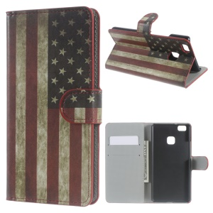 Leather Case Wallet Cover for Huawei P9 Lite - Vintage US American Flag